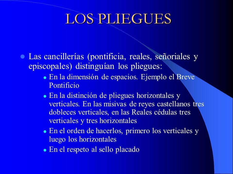 LOS PLIEGUES Las cancillerías (pontificia, reales, señoriales y episcopales) distinguían los pliegues: En la dimensión de espacios. Ejemplo el Breve P