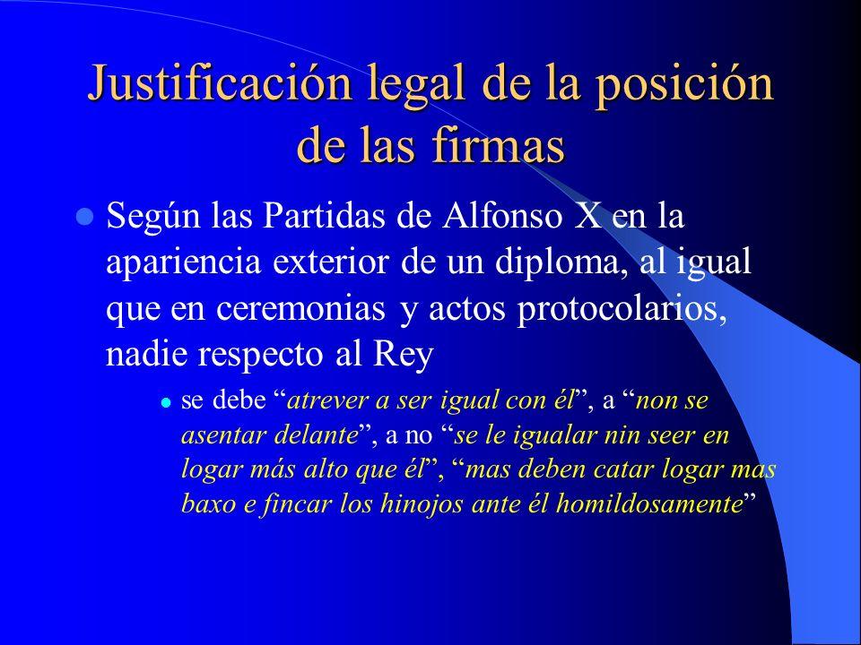 Justificación legal de la posición de las firmas Según las Partidas de Alfonso X en la apariencia exterior de un diploma, al igual que en ceremonias y