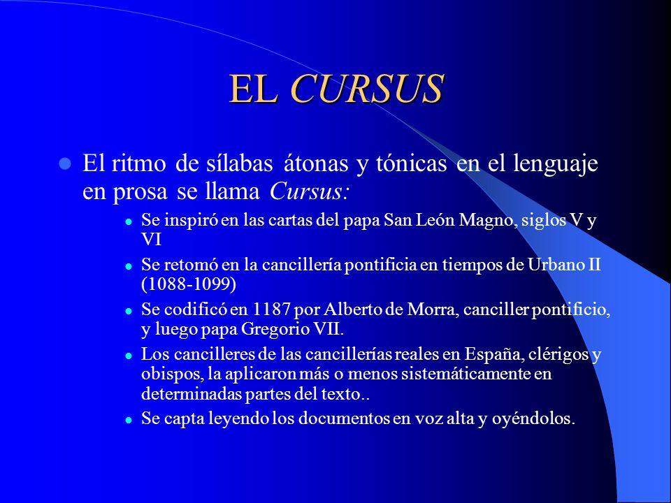 EL CURSUS El ritmo de sílabas átonas y tónicas en el lenguaje en prosa se llama Cursus: Se inspiró en las cartas del papa San León Magno, siglos V y V