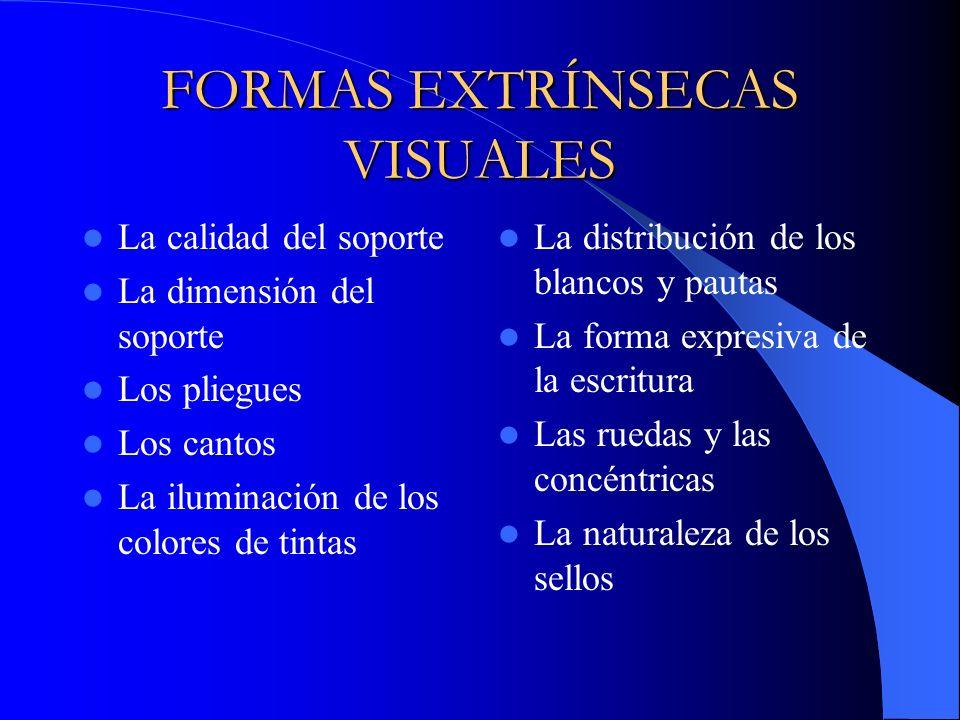 FORMAS EXTRÍNSECAS VISUALES La calidad del soporte La dimensión del soporte Los pliegues Los cantos La iluminación de los colores de tintas La distrib