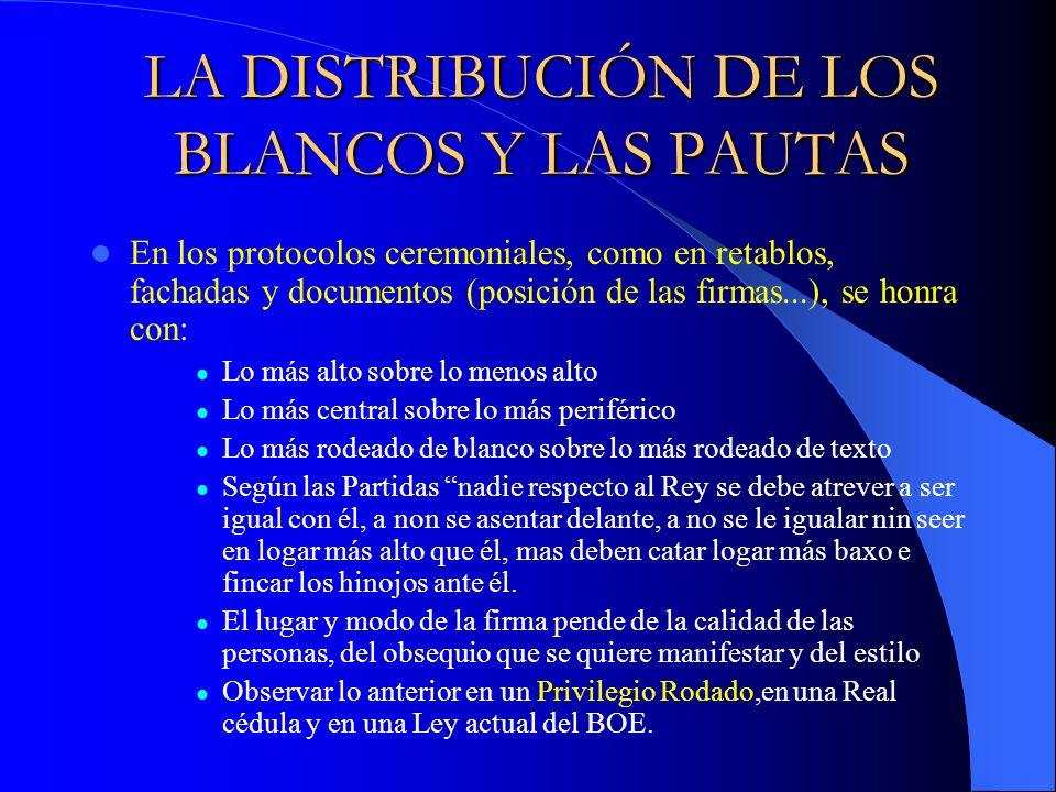 LA DISTRIBUCIÓN DE LOS BLANCOS Y LAS PAUTAS En los protocolos ceremoniales, como en retablos, fachadas y documentos (posición de las firmas...), se ho