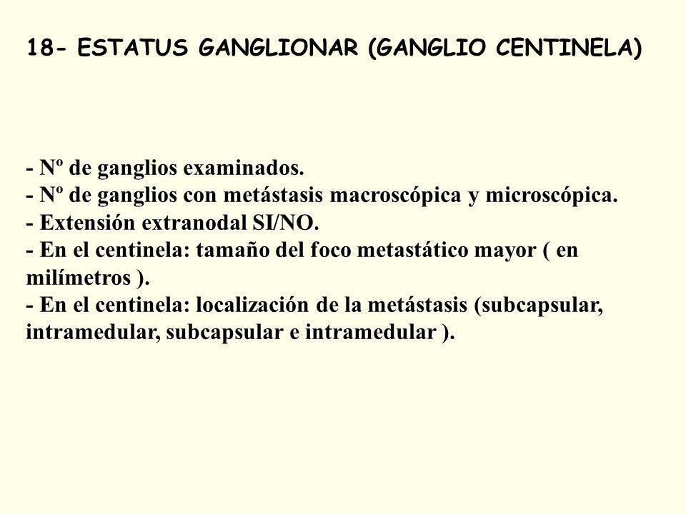 18- ESTATUS GANGLIONAR (GANGLIO CENTINELA) - Nº de ganglios examinados.