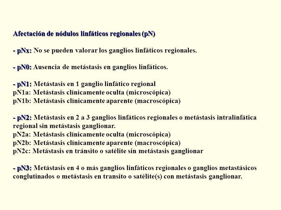 Afectación de nódulos linfáticos regionales (pN) - pNx: - pNx: No se pueden valorar los ganglios linfáticos regionales.
