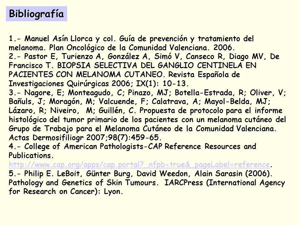 1.- Manuel Asín Llorca y col.Guía de prevención y tratamiento del melanoma.