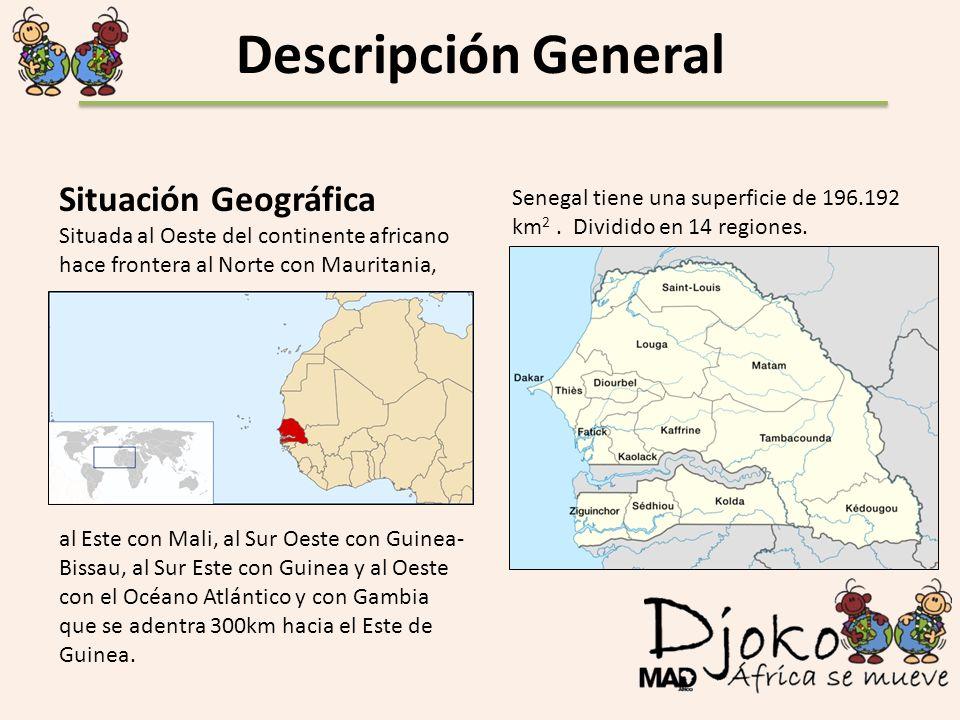 Descripción General Situación Geográfica Situada al Oeste del continente africano hace frontera al Norte con Mauritania, al Este con Mali, al Sur Oest