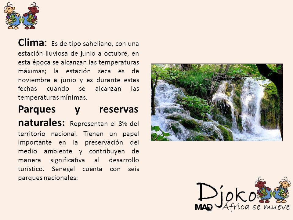 Clima: Es de tipo saheliano, con una estación lluviosa de junio a octubre, en esta época se alcanzan las temperaturas máximas; la estación seca es de