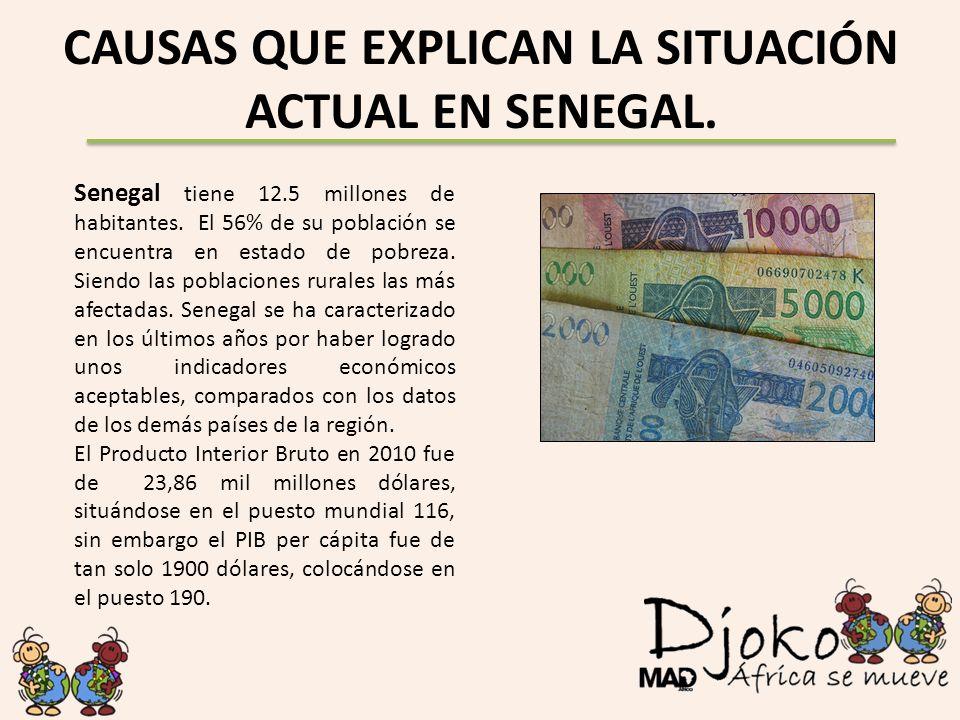 CAUSAS QUE EXPLICAN LA SITUACIÓN ACTUAL EN SENEGAL. Senegal tiene 12.5 millones de habitantes. El 56% de su población se encuentra en estado de pobrez