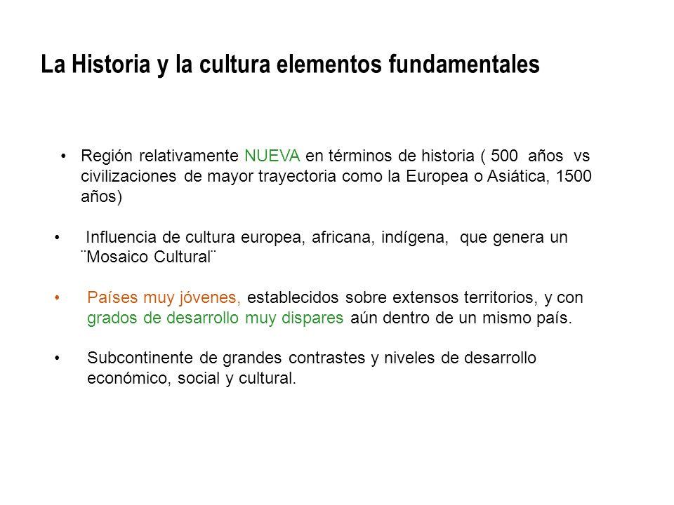 La Historia y la cultura elementos fundamentales Región relativamente NUEVA en términos de historia ( 500 años vs civilizaciones de mayor trayectoria