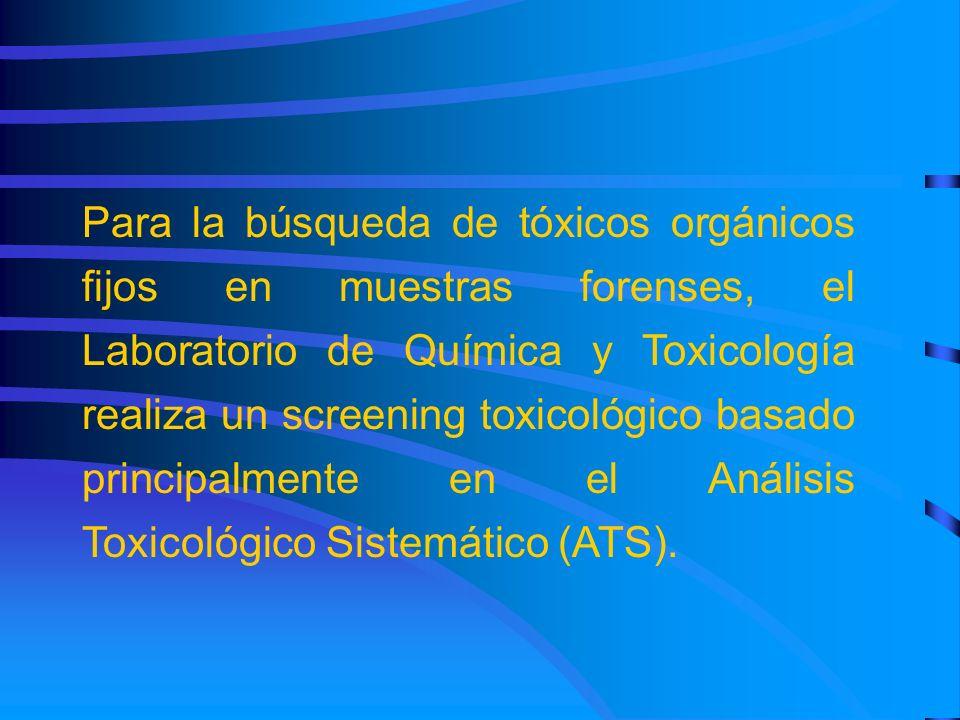 Para la búsqueda de tóxicos orgánicos fijos en muestras forenses, el Laboratorio de Química y Toxicología realiza un screening toxicológico basado pri