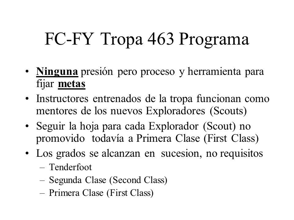 FC-FY Tropa 463 Programa Ninguna presión pero proceso y herramienta para fijar metas Instructores entrenados de la tropa funcionan como mentores de lo