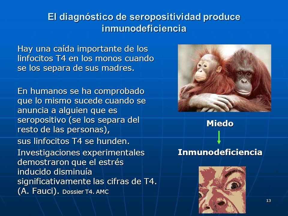 13 El diagnóstico de seropositividad produce inmunodeficiencia Hay una caída importante de los linfocitos T4 en los monos cuando se los separa de sus