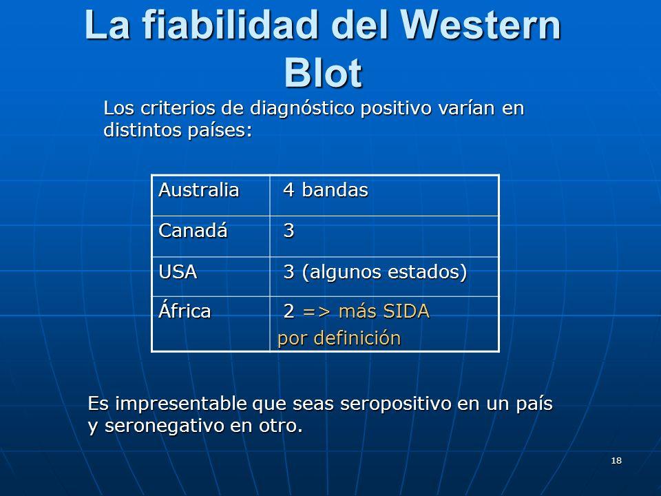 18 La fiabilidad del Western Blot Los criterios de diagnóstico positivo varían en distintos países: Australia 4 bandas 4 bandas Canadá 3 USA 3 (alguno