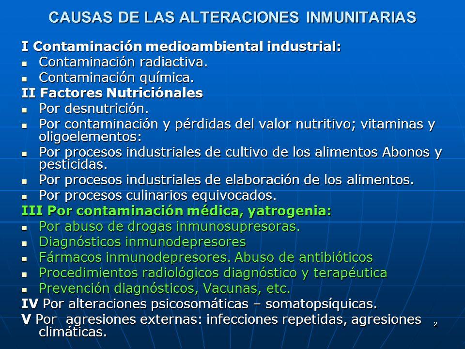 2 CAUSAS DE LAS ALTERACIONES INMUNITARIAS I Contaminación medioambiental industrial: Contaminación radiactiva. Contaminación radiactiva. Contaminación