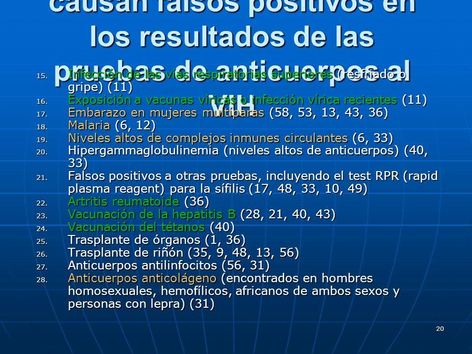 20 Factores que se sabe causan falsos positivos en los resultados de las pruebas de anticuerpos al VIH 15. Infección de las vías respiratorias superio