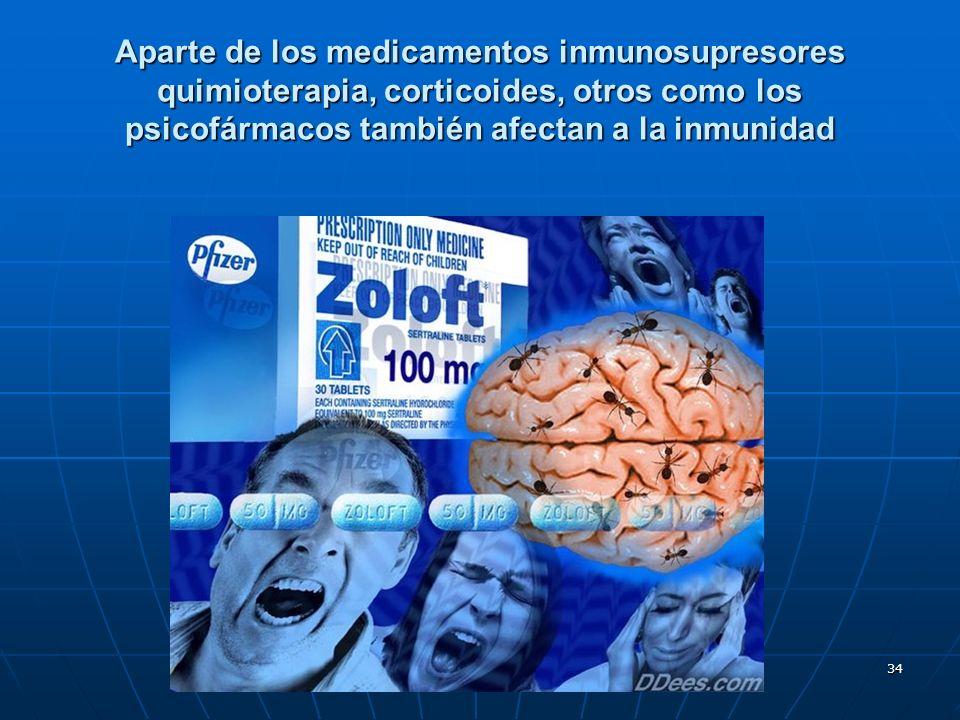 34 Aparte de los medicamentos inmunosupresores quimioterapia, corticoides, otros como los psicofármacos también afectan a la inmunidad
