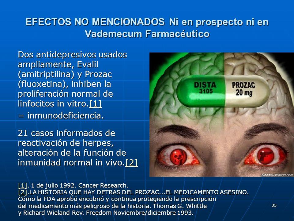 35 EFECTOS NO MENCIONADOS Ni en prospecto ni en Vademecum Farmacéutico Dos antidepresivos usados ampliamente, Evalil (amitriptilina) y Prozac (fluoxet