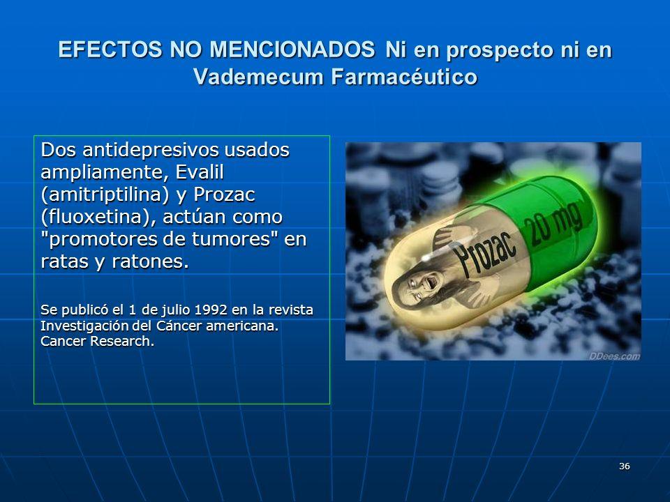 36 EFECTOS NO MENCIONADOS Ni en prospecto ni en Vademecum Farmacéutico Dos antidepresivos usados ampliamente, Evalil (amitriptilina) y Prozac (fluoxet