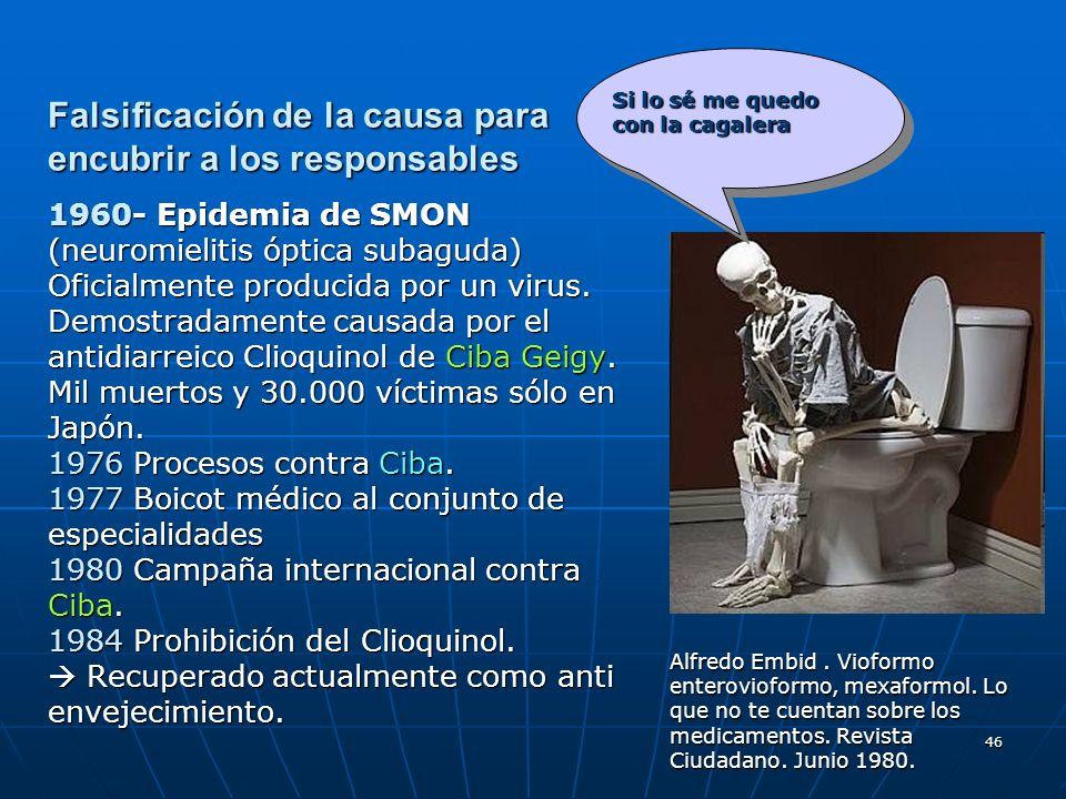 46 Falsificación de la causa para encubrir a los responsables 1960- Epidemia de SMON (neuromielitis óptica subaguda) Oficialmente producida por un vir