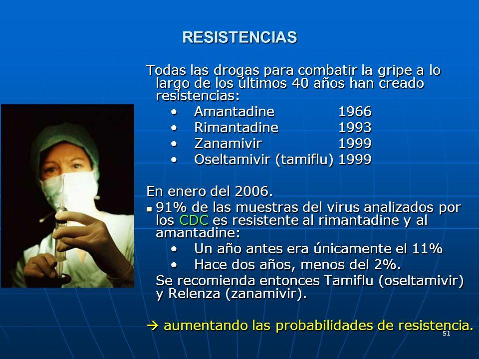 51 RESISTENCIAS Todas las drogas para combatir la gripe a lo largo de los últimos 40 años han creado resistencias: Amantadine 1966Amantadine 1966 Rima