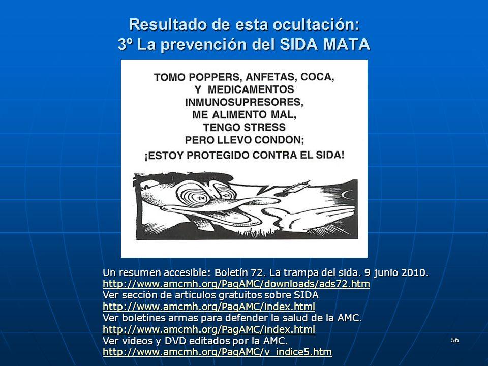 56 Resultado de esta ocultación: 3º La prevención del SIDA MATA Un resumen accesible: Boletín 72. La trampa del sida. 9 junio 2010. http://www.amcmh.o