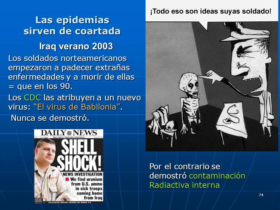 74 Iraq verano 2003 Los soldados norteamericanos empezaron a padecer extrañas enfermedades y a morir de ellas = que en los 90. Los CDC las atribuyen a