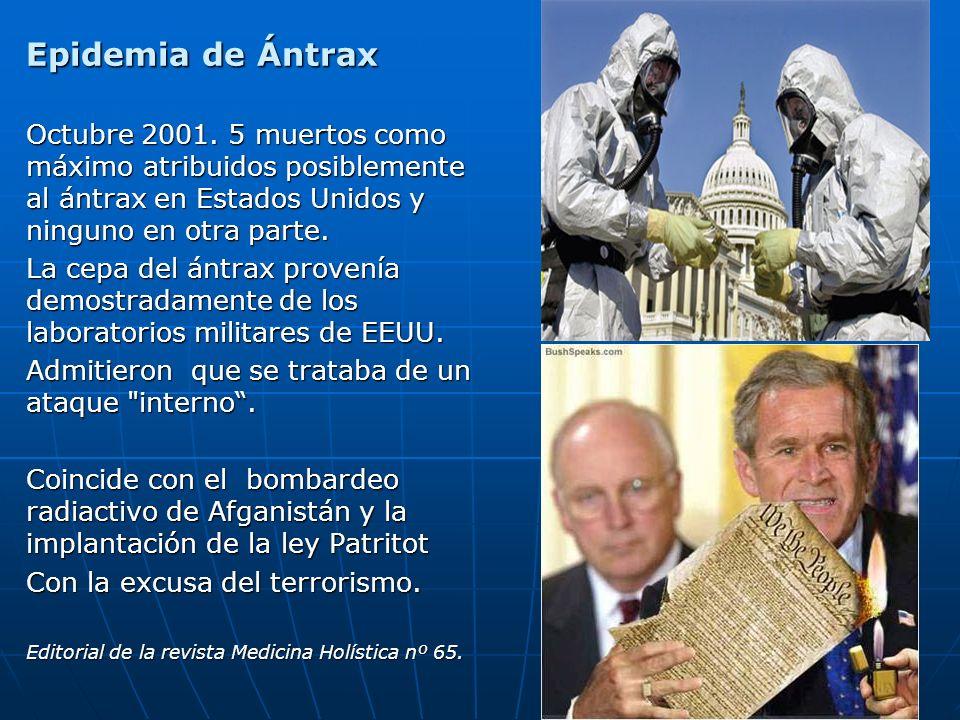 75 Epidemia de Ántrax Octubre 2001. 5 muertos como máximo atribuidos posiblemente al ántrax en Estados Unidos y ninguno en otra parte. La cepa del ánt
