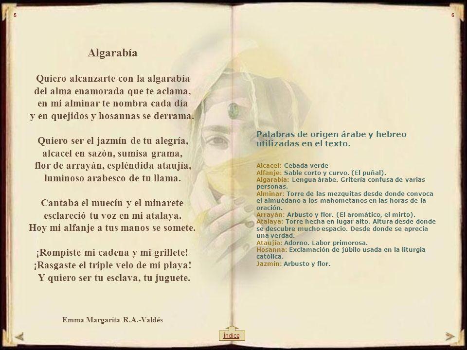CONTENIDO Algarabía es un ensayo literario sobre palabras Españolas de origen árabe. Este libro relata la conversión de una mujer árabe que encuentra