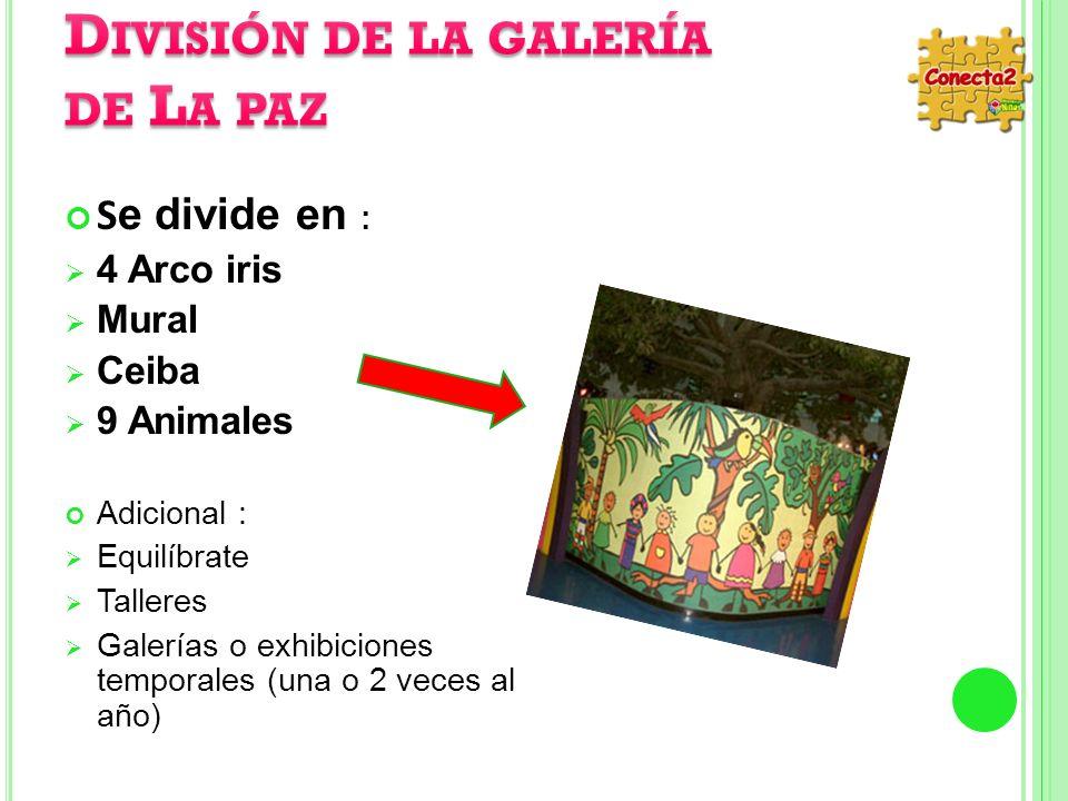 S e divide en : 4 Arco iris Mural Ceiba 9 Animales Adicional : Equilíbrate Talleres Galerías o exhibiciones temporales (una o 2 veces al año)