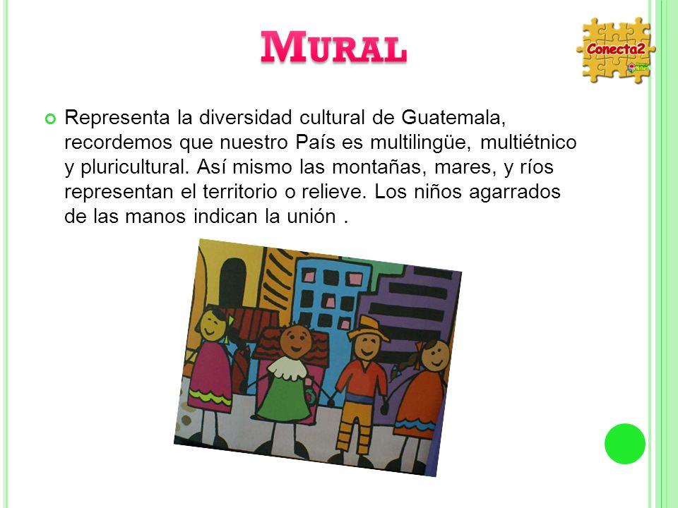 Representa la diversidad cultural de Guatemala, recordemos que nuestro País es multilingüe, multiétnico y pluricultural. Así mismo las montañas, mares