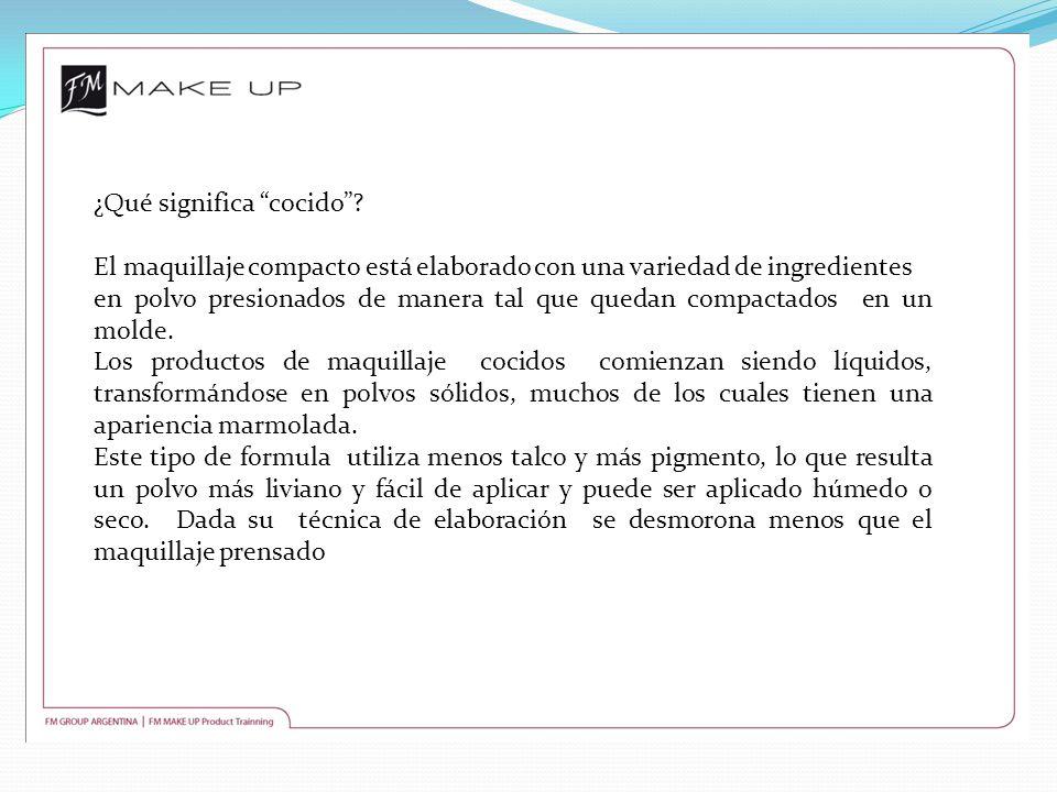¿Qué significa cocido? El maquillaje compacto está elaborado con una variedad de ingredientes en polvo presionados de manera tal que quedan compactado