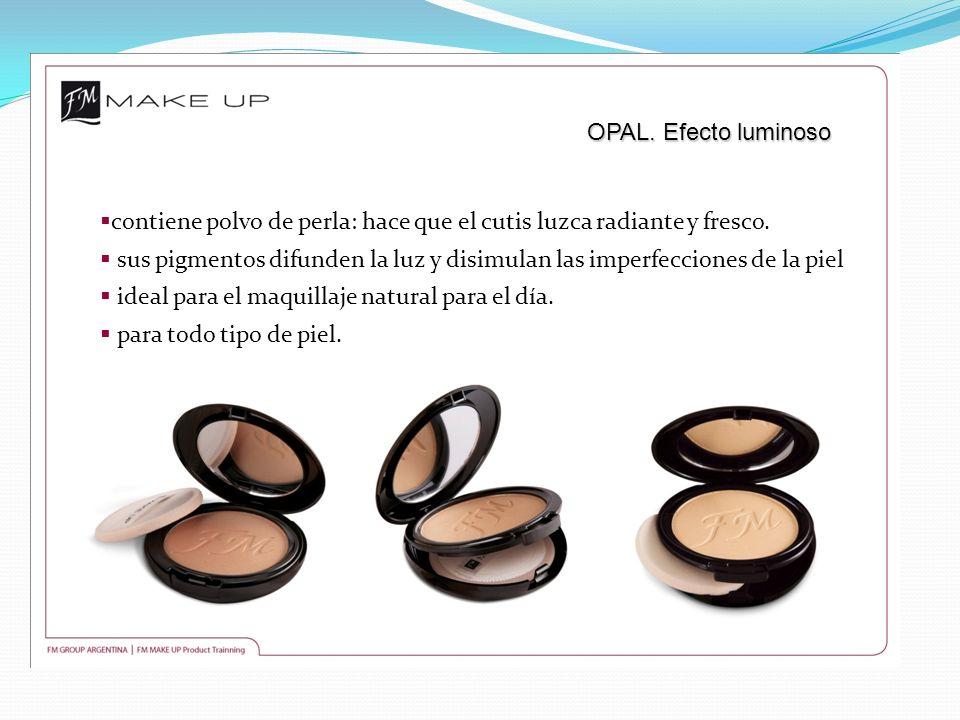 OPAL. Efecto luminoso contiene polvo de perla: hace que el cutis luzca radiante y fresco. sus pigmentos difunden la luz y disimulan las imperfecciones