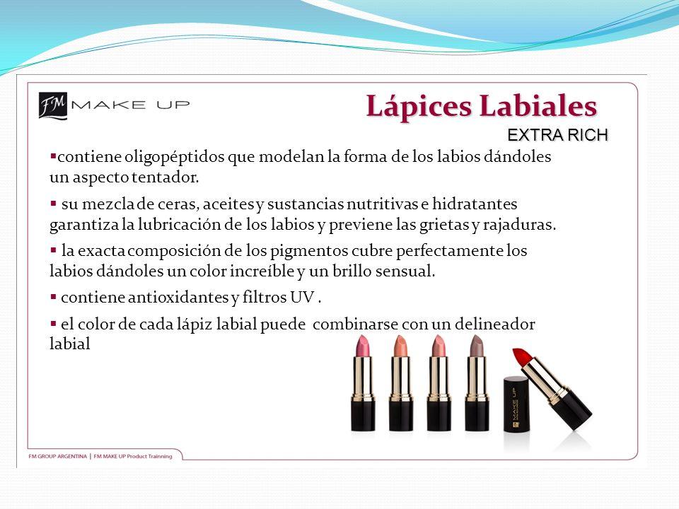 Lápices Labiales EXTRA RICH contiene oligopéptidos que modelan la forma de los labios dándoles un aspecto tentador. su mezcla de ceras, aceites y sust