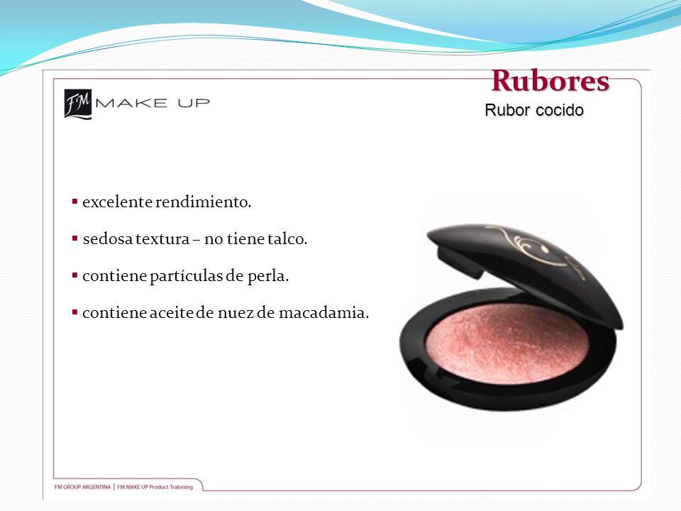 Rubores Rubor cocido excelente rendimiento. sedosa textura – no tiene talco. contiene partículas de perla. contiene aceite de nuez de macadamia.