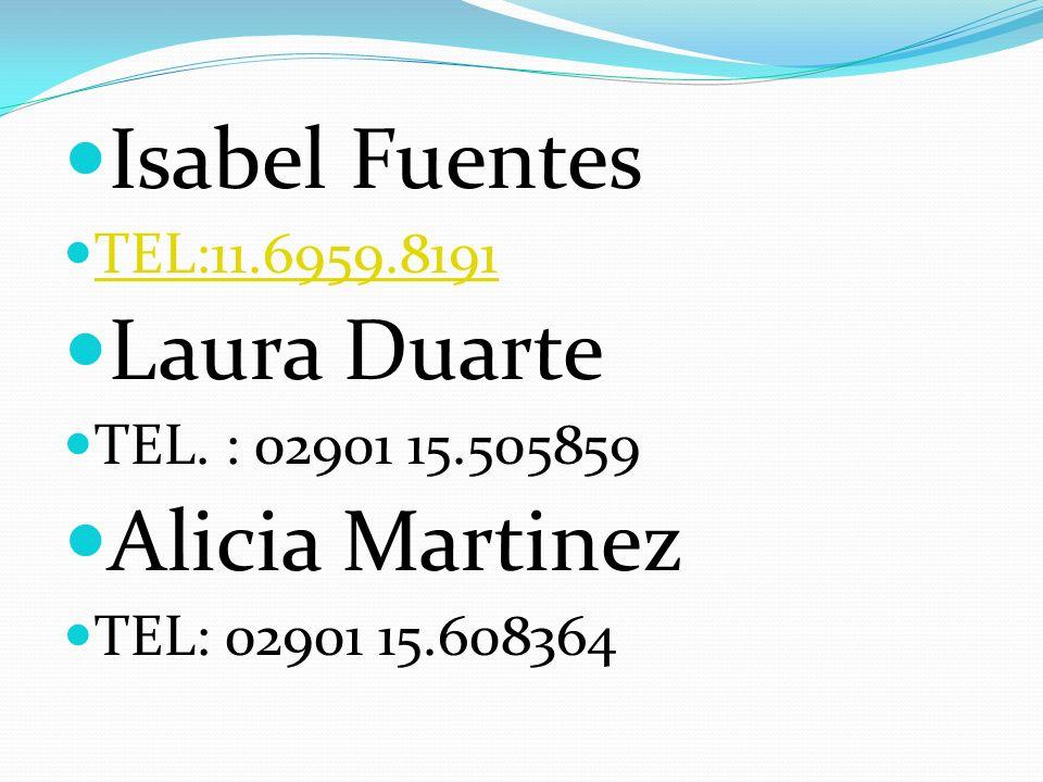 Isabel Fuentes TEL:11.6959.8191 Laura Duarte TEL. : 02901 15.505859 Alicia Martinez TEL: 02901 15.608364