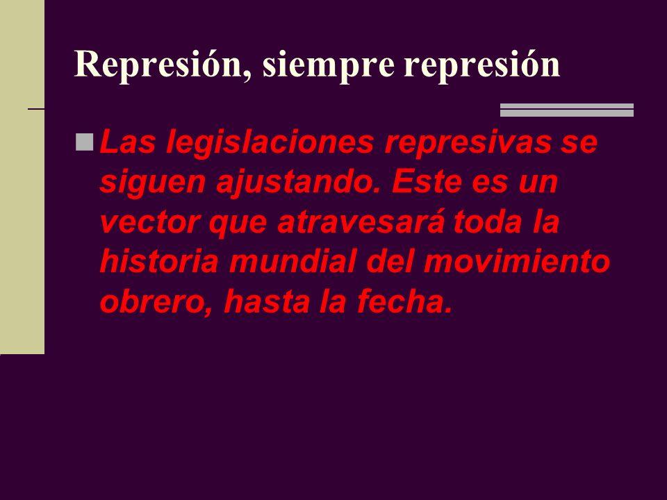 Represión, siempre represión Las legislaciones represivas se siguen ajustando.