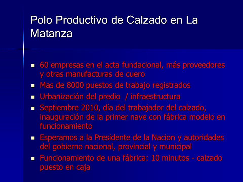 Polo Productivo de Calzado en La Matanza 60 empresas en el acta fundacional, más proveedores y otras manufacturas de cuero 60 empresas en el acta fund