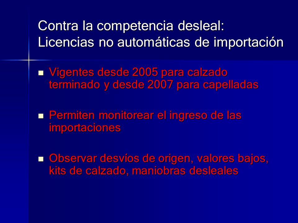Contra la competencia desleal: Licencias no automáticas de importación Vigentes desde 2005 para calzado terminado y desde 2007 para capelladas Vigente