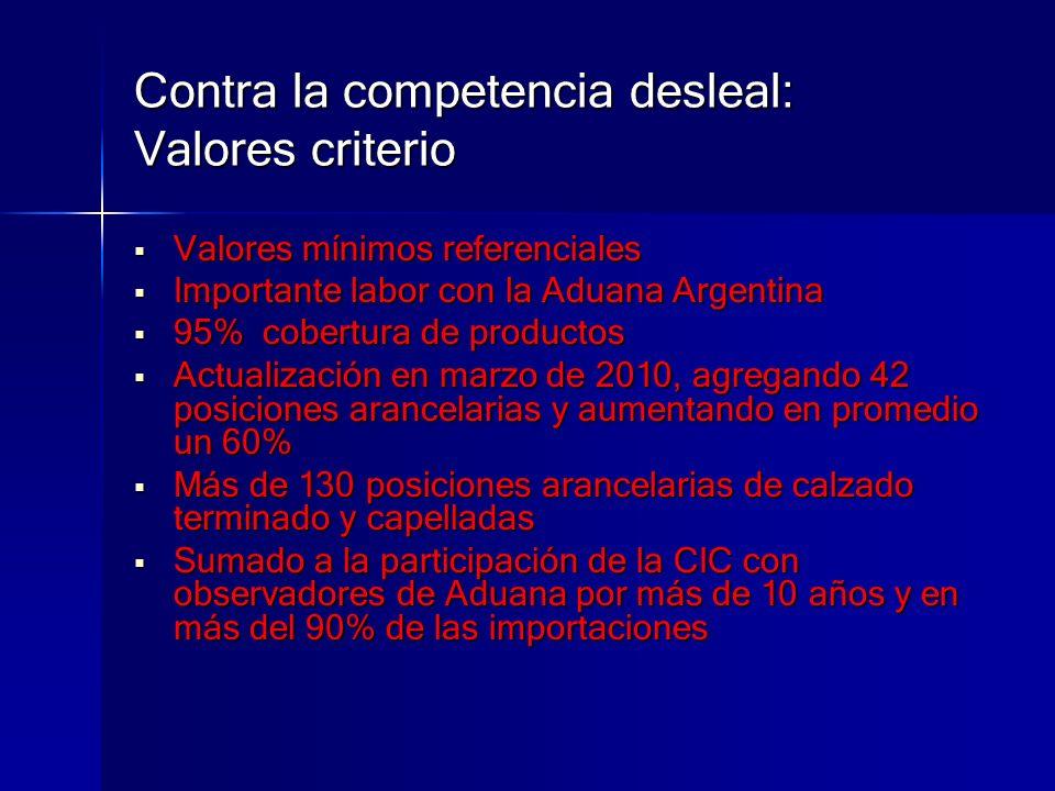 Contra la competencia desleal: Valores criterio Valores mínimos referenciales Valores mínimos referenciales Importante labor con la Aduana Argentina I