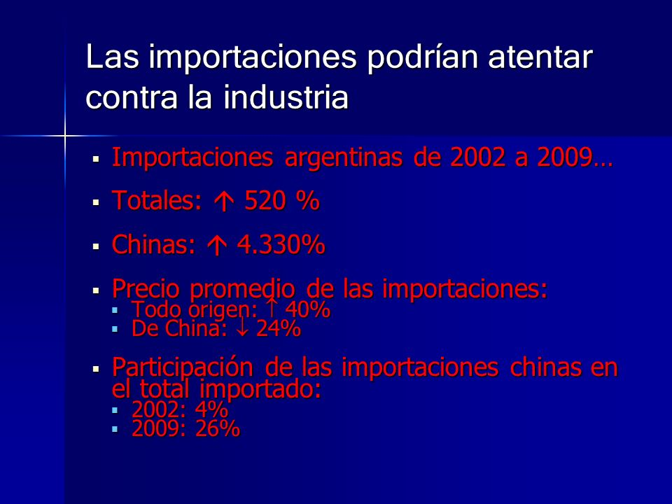 Las importaciones podrían atentar contra la industria Importaciones argentinas de 2002 a 2009… Importaciones argentinas de 2002 a 2009… Totales: 520 %