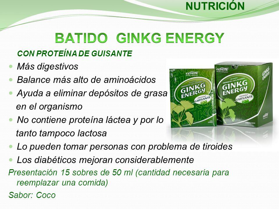 NUTRICIÓN CON PROTEÍNA DE GUISANTE Más digestivos Balance más alto de aminoácidos Ayuda a eliminar depósitos de grasa en el organismo No contiene prot