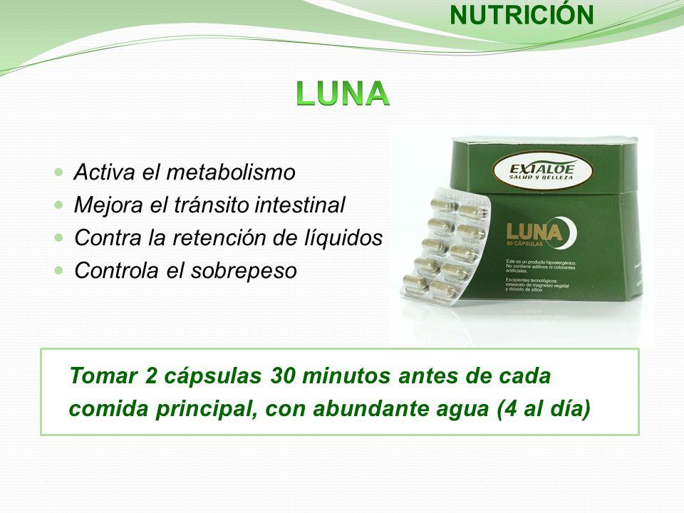 Activa el metabolismo Mejora el tránsito intestinal Contra la retención de líquidos Controla el sobrepeso NUTRICIÓN Tomar 2 cápsulas 30 minutos antes