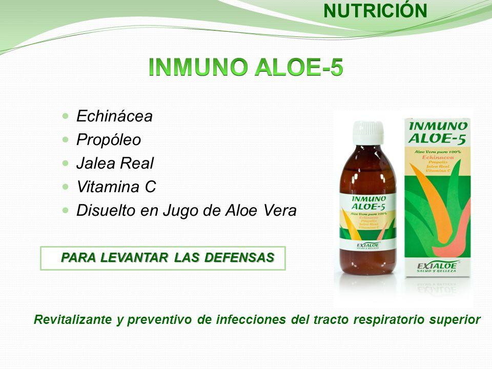 Echinácea Propóleo Jalea Real Vitamina C Disuelto en Jugo de Aloe Vera Revitalizante y preventivo de infecciones del tracto respiratorio superior NUTR