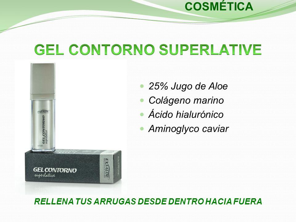 RELLENA TUS ARRUGAS DESDE DENTRO HACIA FUERA COSMÉTICA 25% Jugo de Aloe Colágeno marino Ácido hialurónico Aminoglyco caviar