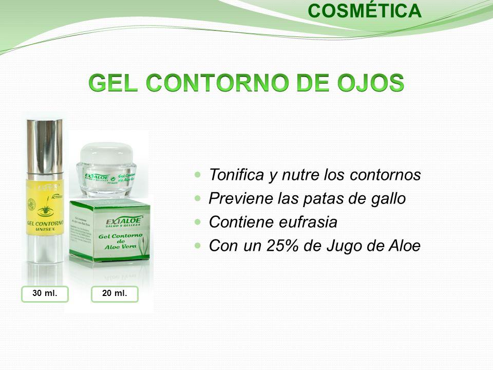 30 ml. COSMÉTICA 20 ml. Tonifica y nutre los contornos Previene las patas de gallo Contiene eufrasia Con un 25% de Jugo de Aloe