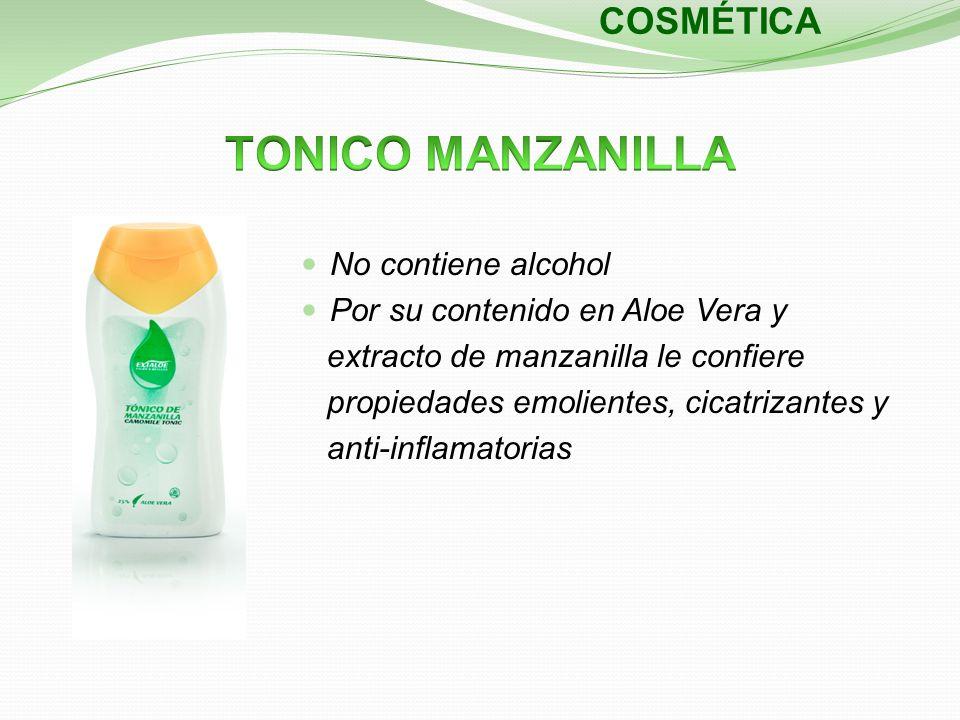 COSMÉTICA No contiene alcohol Por su contenido en Aloe Vera y extracto de manzanilla le confiere propiedades emolientes, cicatrizantes y anti-inflamat