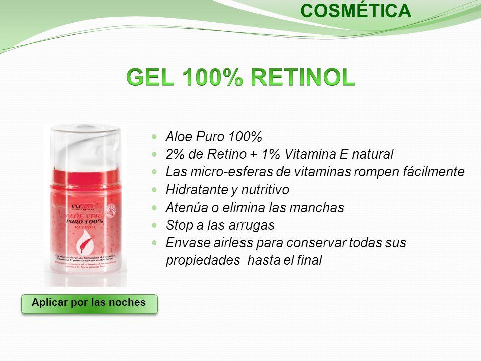 Aplicar por las noches COSMÉTICA Aloe Puro 100% 2% de Retino + 1% Vitamina E natural Las micro-esferas de vitaminas rompen fácilmente Hidratante y nut