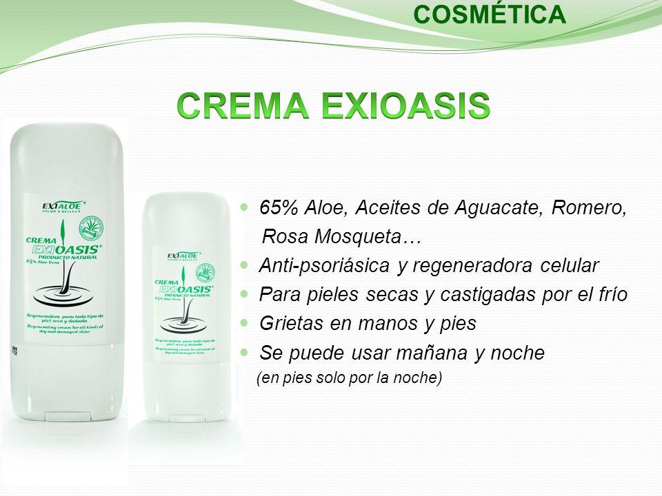 COSMÉTICA 65% Aloe, Aceites de Aguacate, Romero, Rosa Mosqueta… Anti-psoriásica y regeneradora celular Para pieles secas y castigadas por el frío Grie
