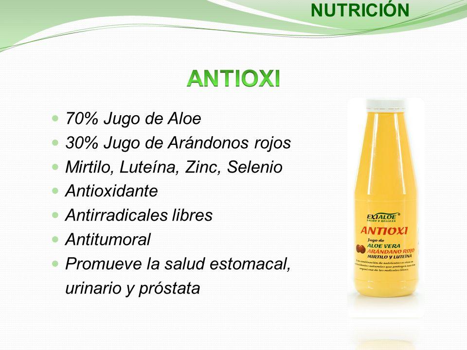 NUTRICIÓN 70% Jugo de Aloe 30% Jugo de Arándonos rojos Mirtilo, Luteína, Zinc, Selenio Antioxidante Antirradicales libres Antitumoral Promueve la salu