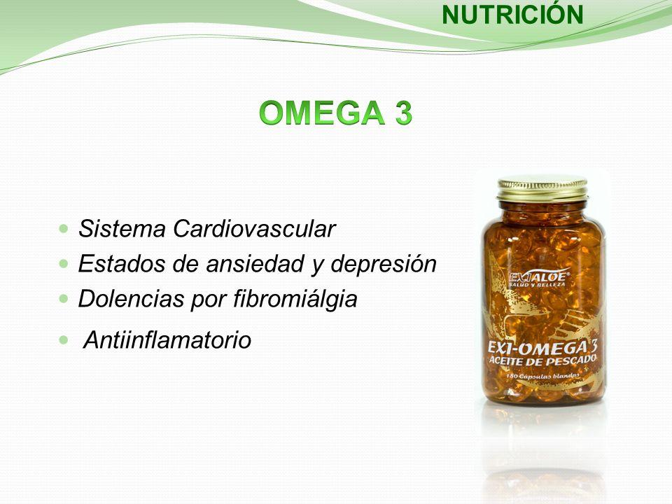 Sistema Cardiovascular Estados de ansiedad y depresión Dolencias por fibromiálgia Antiinflamatorio NUTRICIÓN