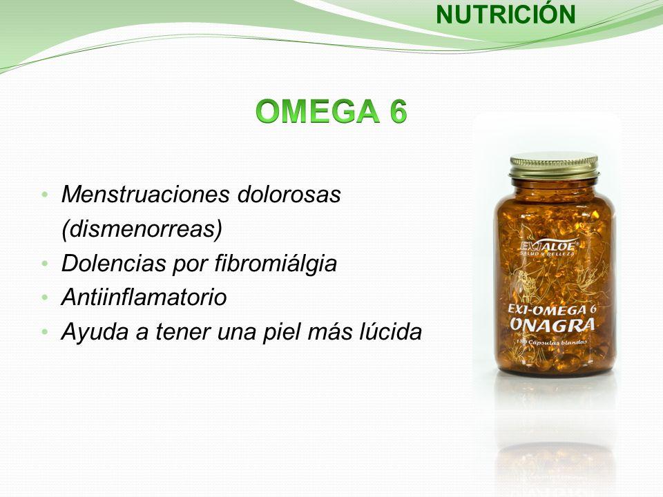 Menstruaciones dolorosas (dismenorreas) Dolencias por fibromiálgia Antiinflamatorio Ayuda a tener una piel más lúcida NUTRICIÓN